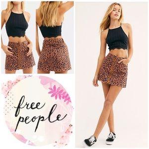 Free People Zip It Up Printed Mini Skirt